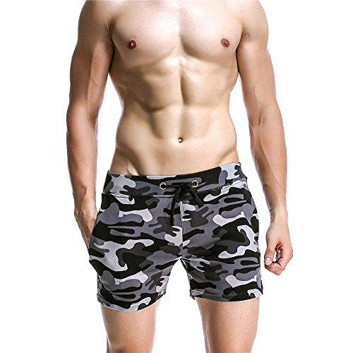 Jtoony Shorts de Baño para Hombre Pantalones de casa para Hombres Pantalones Cortos de Playa de algodón de Cintura Baja Casual Pantalones de Fitness Deportivo Pantalones de Camuflaje Traje de Baño