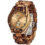 Wooden Watches, shifenmei S5518 Japanese Movement Lightweight Wooden Watches for Women Analog Quartz Wooden Strap Handmade Luxurious Wood Wrist Watches with Wood Box (Zebra Gold)