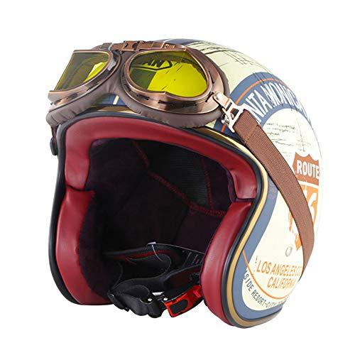 LFTS Casco de Moto de Cara Abierta Retro con Gafas y Visera para el Sol Certificado por Dot Vintage 3/4 Casco de protección para Moto Jet Chopper Biker Cruiser Pilot Cascos,Route 66,M57cm~58cm