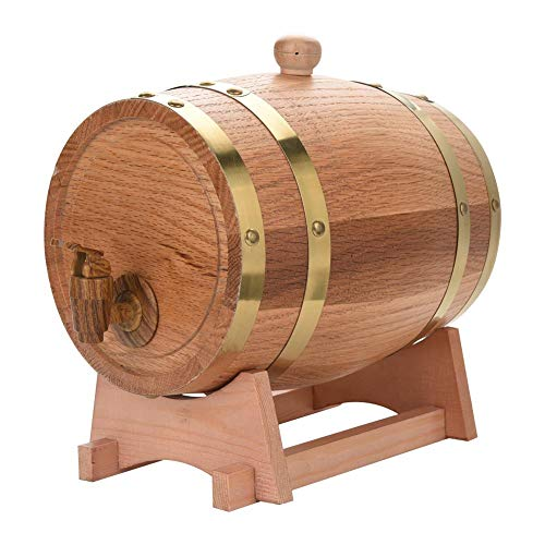 Barril de roble, barril de roble de 1.5/3/5/10 litros Barril de vino de madera de roble de roble de madera vintage para cerveza Whiskey Ron Puerto (3L)