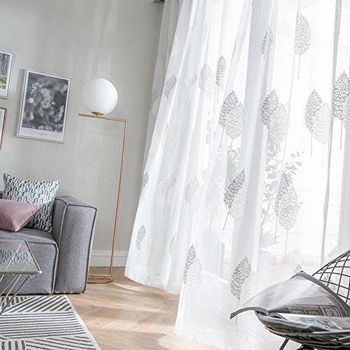TINE HOME CURTAINS Vorhänge und Vorhänge Gardinen Luxus Weiß Verdickung Stickerei Tüllvorhänge Zum Fensterdekorationen Wohnzimmer Tülle oben Ein Panel, 1pc(250*270 cm