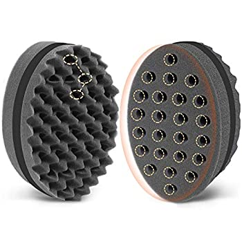 AIRTREESmall Holes Magic Twist Hair Brush,Curl Sponge for Natural Hair,Tornado Locking Afro Curling Coil Comb Two-Side Hair Care Styling Tool  1 Pack,Black