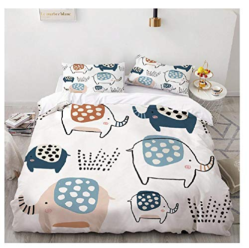 BAIYANG 3 Piece Bedding Set Elephant Beds Comforter Duvet Cover Cartoon Bedding Set Bed Cover Set 3D Print Bedding Sets Set Kids Bed Super King(260x220cm)