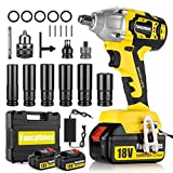 Cordless Impact Wrench with 2 Battery, 18V Electric High Torque, 5000mAH Lithium Battery, 320N.m 1/2 inch Drive, Dual Speed Auto Power Tool, 6 Impact Socket Set & Carry Case