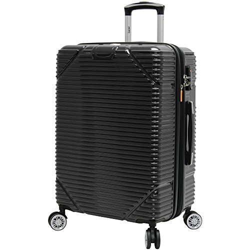 Lucas Troy Hardside Designer Luggage Collection - Expandable Scratch Resistant (ABS + PC) Suitcase - Lightweight 24 Inch Midsize Bag with 8-Rolling Spinner Wheels (Black)