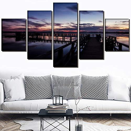 HNBDH Kunstdruk op canvas, platform voor observatie, landschap, schilderen, 5-delig, HD-afbeelding, kunstdruk, schilderen, Oeufel, woonkamer, wandposter Pas de Cadre (Size 3)