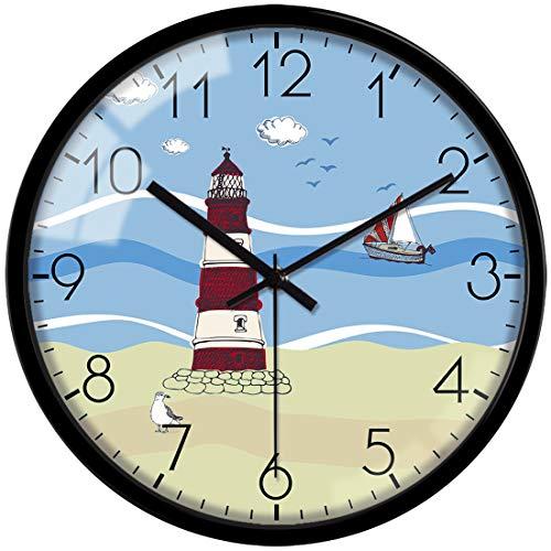 VIKMARI Orologio da Parete Decorativo Silenzioso Non ticchettio Movimento al Quarzo Hanging Batteria dell'orologio Mare Torre del Modello 12 inch