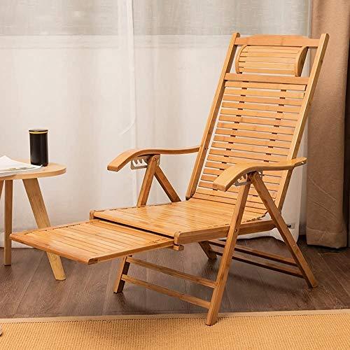 fuchangsi 6-Fach Verstellbarer Liegestuhl Bambus-Stuhl Personen schlafen faul Stuhl Klappstühle Bürostuhl Sessel Gartenstuhl Liegestuhl Sonnenliegestühle versuchen,Brown