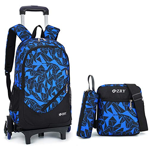 Rolling Backpack Set Trolley Travel suitcase Wheeled School Bag+Shoulder bag+Pouch 3 in 1 unisex, Blue-six Wheels, SIZE(LWH):12.67.518.5 inch