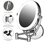 Ovente Wall Mounted Makeup Mirror 9.5 Inch with 10X Magnification and LED Ring Lights, Energy Saving with Auto Shutoff Timer, Double-Sided with 360 Degree Swivel Design, Polished Chrome (MLW45CH1X10X)