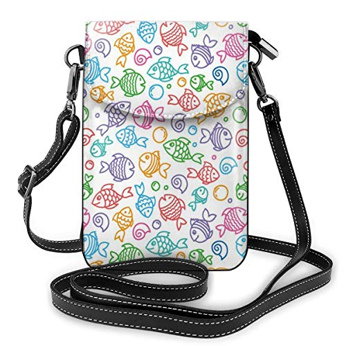 Women Small Cell Phone Purse Crossbody,Colorful Doodle Style Fish Figures With Happy Faces And Bubbles Under The Sea Aquarium