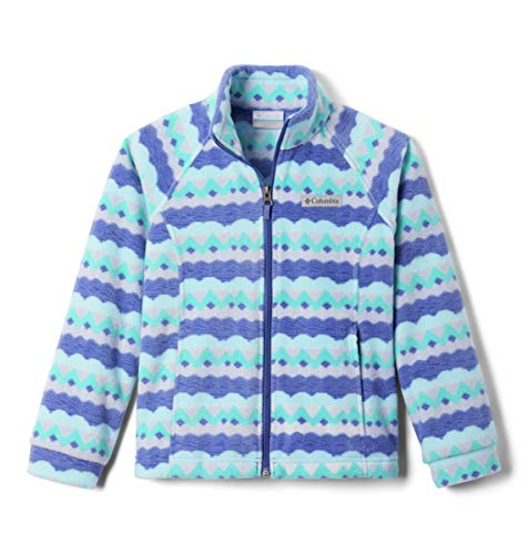 Columbia Girls' Toddler Benton Springs II Printed Fleece Jacket, African Violet Striped Peaks, 3T