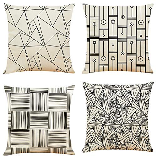Shan-S Pack of 4 Decorative Throw Pillow Cover,Black Stripes Geometric Patterns Decorative Pillow Case,Cotton Linen Cushion Shams Covers for Bedroom Sofa Couch Bed Car 18 x 18 Inch