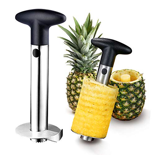 Pineapple Peeler Corer Slicer Cutter, 【Upgraded, Reinforced】【 Thicker Sharp Blade】Stainless steel, Easy Clean, Anti-Slip Handle Pineapple Slicer Core Remover Tool for Home & Kitchen Fruit Rings
