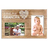 Vilight I Love My Grandpa Father's Day Gifts from Grandchildren - Picture Frame for Pregnancy Announcement to Grandfather - Holds 2 4x6 Photos