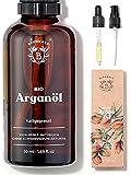 ARGANÖL BIO | 100% Rein, Natürlich & Kaltgepresst | Gesicht, Körper, Haar, Bart, Nägel | Vegan & Cruelty Free | Argan Oil | Glasflasche + Pipette + Pumpe (50ml)