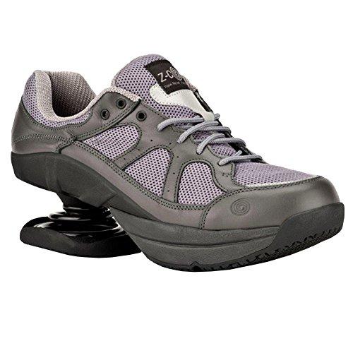 Z-CoiL Women's Liberty Slip Resistant Gray Leather Tennis Shoe 6 E US