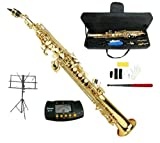Merano B Flat Gold Soprano Saxophone,Case,Reed,Screw Driver, Nipper,A Pair of Gloves,Soft Cleaning Cloth, Music Stand, Metro Tuner