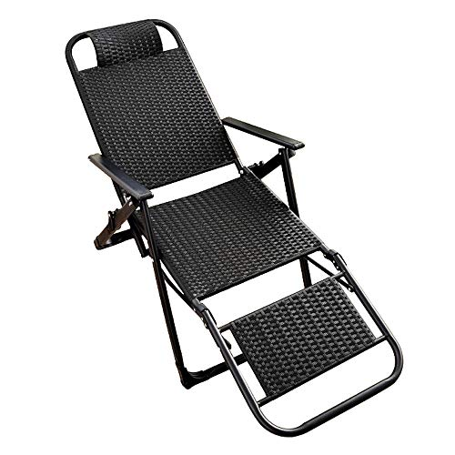 ZHongWei-- Presidente Cero Gravedad, PE Rattan Hecho a Mano Plegable reclinable al Aire Libre del césped Transpirable Ocio Fresco de la Silla de salón Cubierta Almuerzo Silla Plegable Rotura