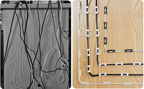 Kabelklemmen,72 Stück, neue Ausführung, selbstklebend, Kabelhalter mit Unterlage, hochviskoser Kabelklemmsatz, spurlos verklebt, Kabelführung für Ladekabel, Wandschreibtisch