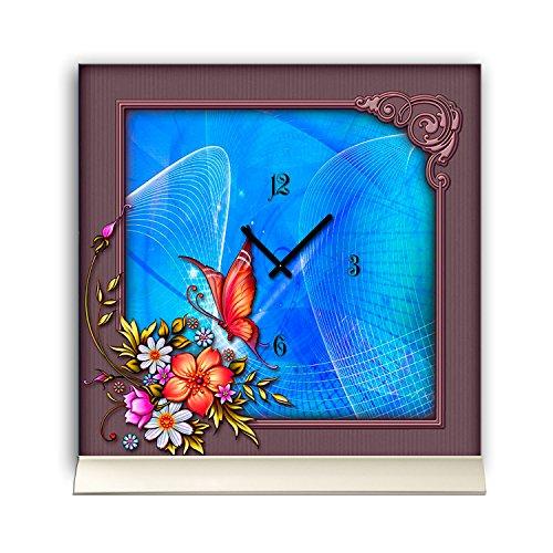 Tischuhr 30cmx30cm inkl. Alu-Ständer -Art déco Design Jugendstil mauve blau geräuschloses...
