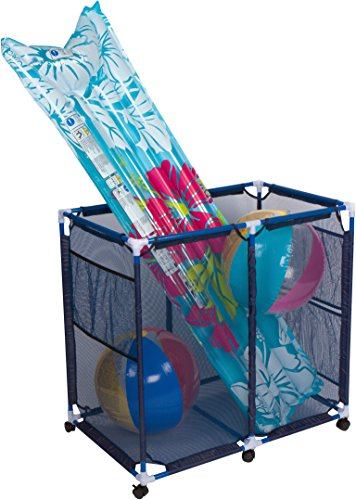 Trademark Innovations STRGE Rolling Pool Storage Cart for Toys and Accessories, Blue