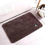 Alfombra de baño de fibra pelusa cómoda y suave alfombra de baño antideslizante absorbente alfombra para el pie de ducha Felpudo oscuro 40 x 60 cm