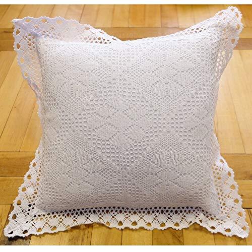 Kussensloop Kussensloop Huistextiel wit met nobele gehaakte kant Landelijke stijl 40x40 cm