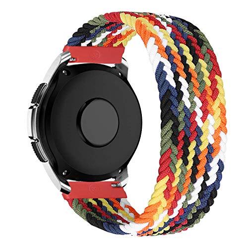 MroTech Compatible con Samsung Galaxy Active/Active2 40mm/44mm/Galaxy Watch 3 41mm/Galaxy 42mm Correa Nailon elástico 20mm Pulseras de Repuesto para Huawei GT 2 42 mm Banda Nylon Woven Loop-Vistoso/M