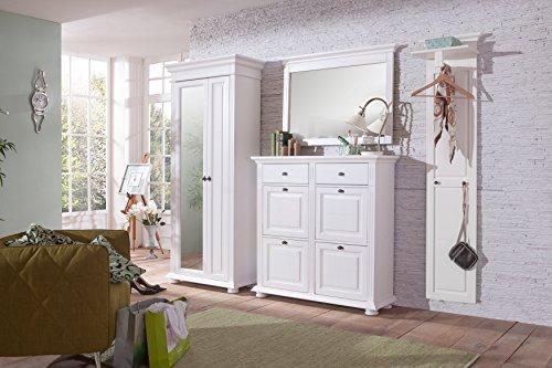 Landhaus Garderoben Set LEONA Astfichte massiv Naturweiß lasiert mit Dielenschrank Wandspiegel Wandgarderobe Mehrzweckschrank Set 2