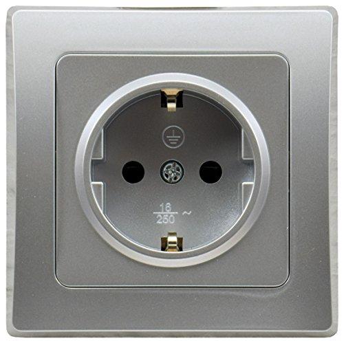 DELPHI Steckdose Unterputz Klemmanschluss 230V Schutzkontakt-Steckdose mit erhöhtem Berührungsschutz Silber Grau