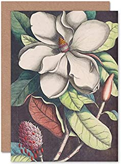 Wee Blue Coo Flower Magnolia Botany Greeting Card with Envelope Inside Premium Quality