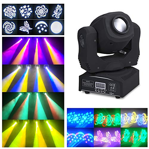 Lixada 60W Mini LED Köpfe Moving Stage Light 8 Gobos & Total 14 Farben RGBW DMX512 Beam Spotlight 9/11 Kanal Auto-Run Sound-aktivierter Master-Slave für DJ Disco Club Hochzeitsfeier Dance Bar