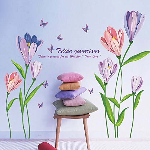 WandSticker4U®- Wandtattoo Aquarell Blumen TULPEN in Violett & Rosa I Wandbilder: 150x108 cm I Wandsticker Blüten Schmetterlinge Wand-aufkleber I Deko für Wohnzimmer Schlafzimmer Flur GROSS