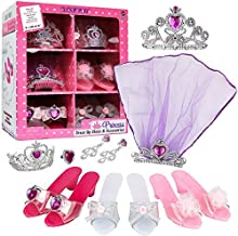 Click N' Play Girls Princess Fashion Dress Up Set, High Heels, Earrings, Ring and Accessories