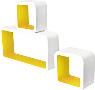 Lestarain LGA017 Juego de 3 Estanteria Cubo de Pared Cuadrada Libreria Repisas Invisibles Estanteria Pared Flotantes Blanco/Amarillo Decorativo CD