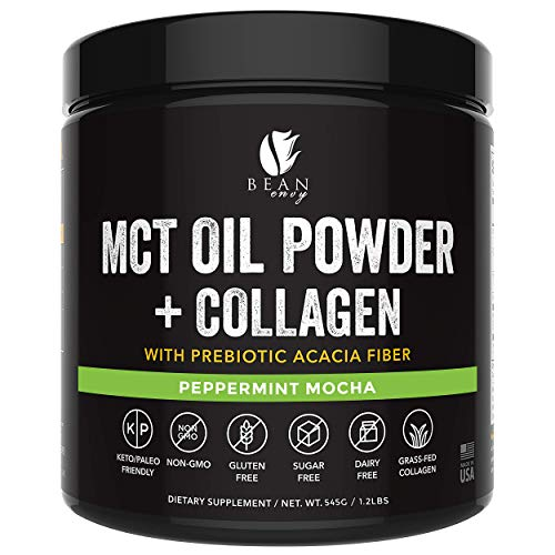 MCT Oil Powder with Collagen and Prebiotic Acacia - Pure MCT's - Perfect for Keto - Energy Boost - Nutrient Absorption - Appetite Control - Healthy Gut Support – Peppermint Mocha