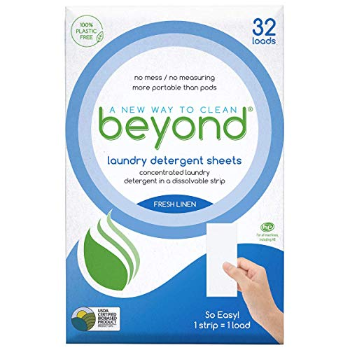 Beyond 100% Plastic Free Concentrated Laundry Detergent Sheets (Laundry Detergent Strips) Fresh Linen Scent (Pack of 32)