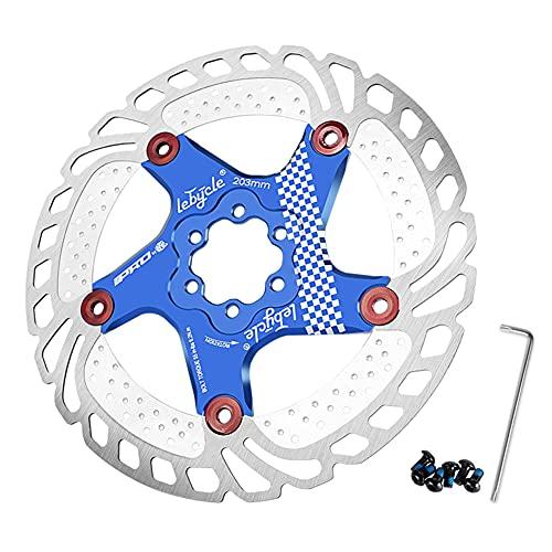 SHHMA Rotor de Freno de Disco de Bicicleta Disco de disipación de Calor con 6 Pernos para Bicicleta de Carretera Bicicleta de montaña MTB BMX Rotor de Bicicleta de Acero Inoxidable,Azul,160MM