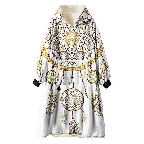 ZUICHU deken flanel hoodie fleece netpatroon super pluSch hoodie winter warm omkeerbare badjas unisex sweatshirt [One Size], geschikt voor thuis, op kantoor, winkelen, magazijn