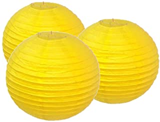 4 CHINESE S BRIGHT YELLOW COLOUR PAPER LANTERN BIRTHDAY NEW YEAR JAPANESE PARTY