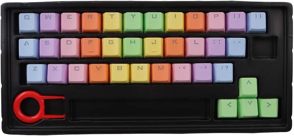 37 Keys PBT Keycaps Double-Shot Backlit Keycaps Set for Gaming Mechanical Keyboard Keycaps Rainbow Gradient