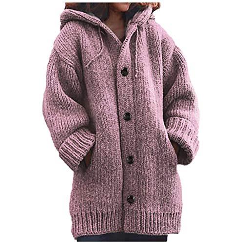 Lazzboy Frauen Warme Lose Taste Hoodie Strickpullover Lange Oberseiten Bluse Strickjacke Damen Winterjacke Offenmantel Mit Taschen Jacke Plüsch Oberbekleidung(Rot,S)