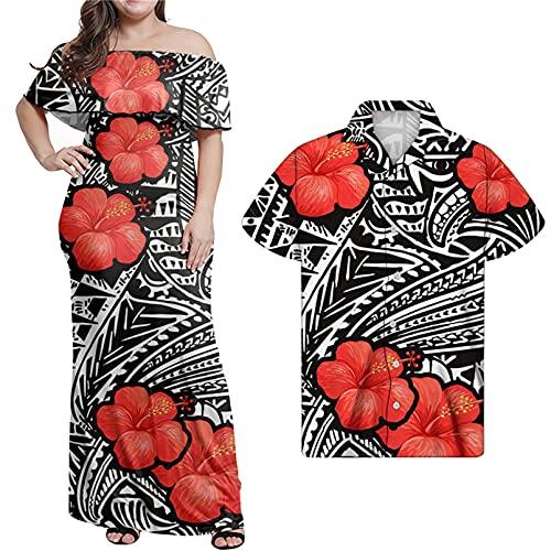 Vestido Largo de graduación Sexy para Mujer, Camisa de Gran tamaño, Vestido a Media Pierna de Hibisco polinesio Rojo de Verano