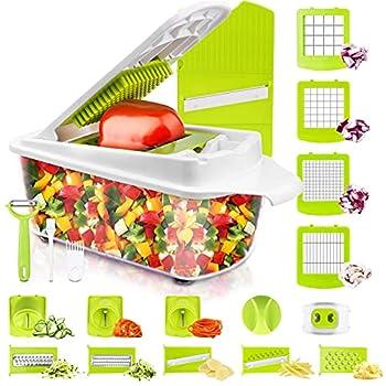 Sedhoom Vegetable Chopper Veggie Chopper 23 PCS Food Chopper and Dicer Onion Cutter Chopper Vegetable Cutter Potato Fruit Chopper w/Container Large