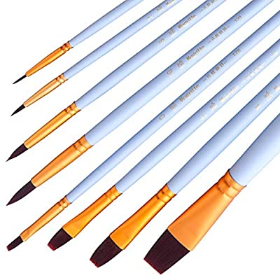 Magritte Artist Paint Brush Set Nylon Hair 8pcs-Detail Paint Brush for Watercolor, Acrylics, Ink, Gouache, Oil, Tempera, Paint by Numbers