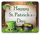 KKs-Shop Mauspad zum Heiligen Patrick, fröhliche Feier mit Text auf Goldholzbrettern und einem Hut irischer Tradition