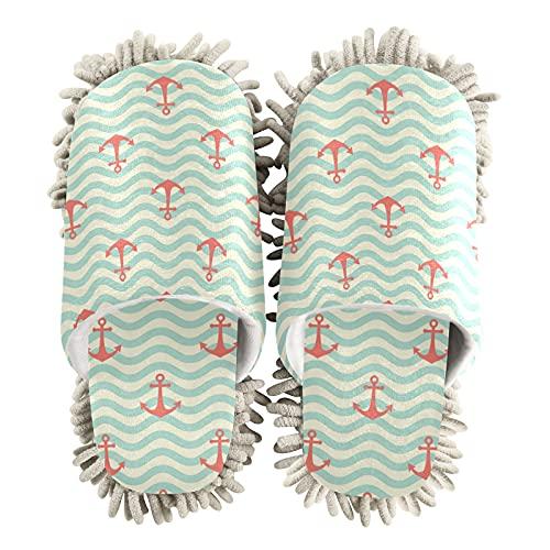 Zapatillas de limpieza para mujer, con patrón de ancla de mar, para casa, para limpieza del suelo, para mujeres, hombres, niños, uso en interiores, multicolor, 36/39 EU