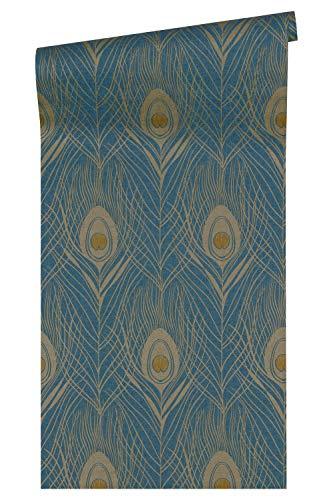 Architects Paper Vliestapete Absolutely Chic Tapete mit Pfauen Feder 10,05 m x 0,53 m blau gelb metallic Made in Germany 369712 36971-2