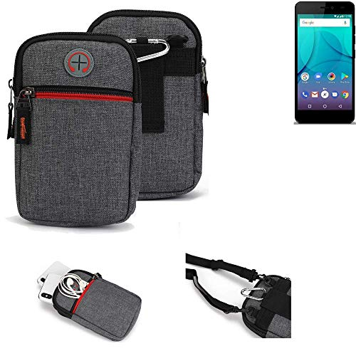 K-S-Trade® Gürtel-Tasche Für Allview P7 Lite Handy-Tasche Holster Schutz-hülle Grau Zusatzfächer 1x